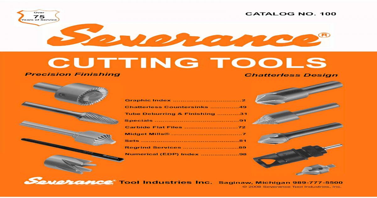 "Severance tool/"" 4 Flute C/' sink; ES-1//2-41;ES-1//2-45"