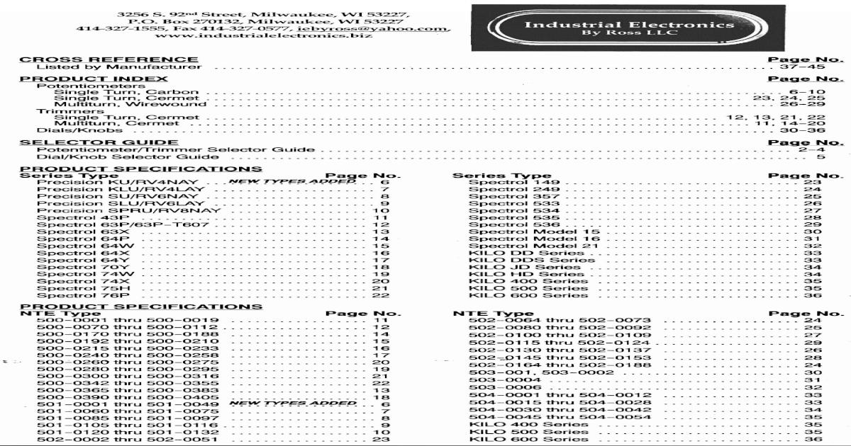 "NTE Electronics 502-0109 534-1-1-104 POT 2W 100K OHM 1//4/"" DIA SHAFT 7//8/"""