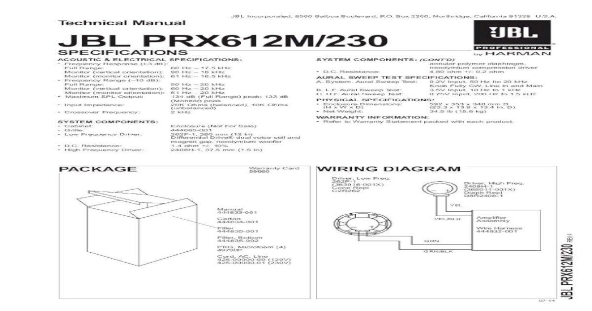 Technical Manual Jbl Prx612m  230      2 3 0 R E V F