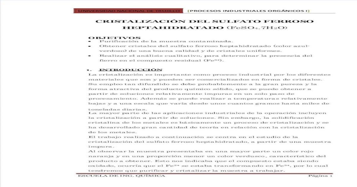 Cristalizacin Sulfato Ferroso Pdf Document