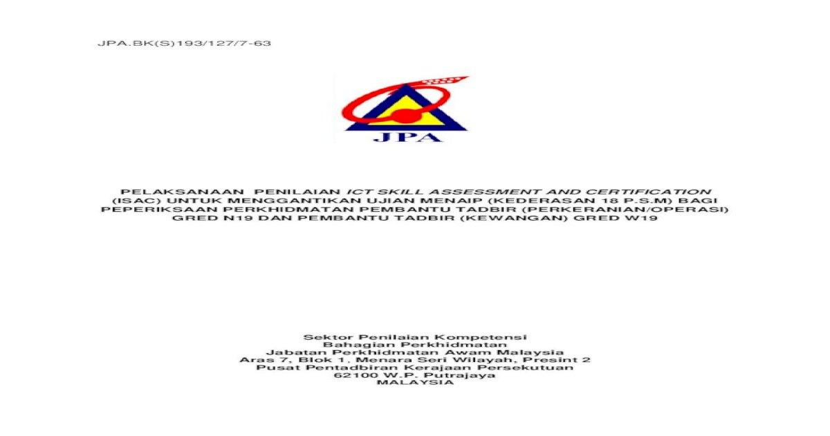 Jpa Bk S 193 127 7 63 Pelaksanaan Penilaian Ict Skill Pdf Document