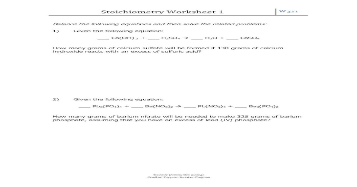 Stoichiometry Worksheet 1 Everett Community College Stoichiometry Worksheet 1 W321 Everett Community Pdf Document