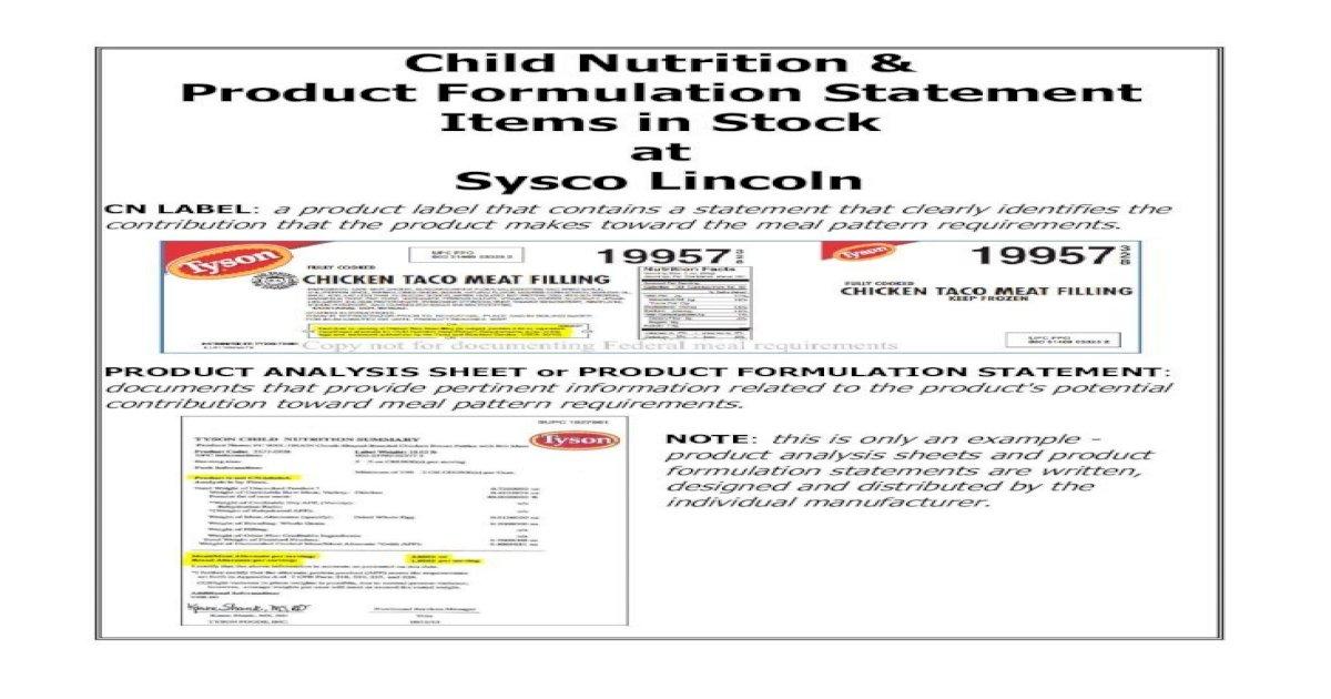 Child Nutrition & Product Formulation