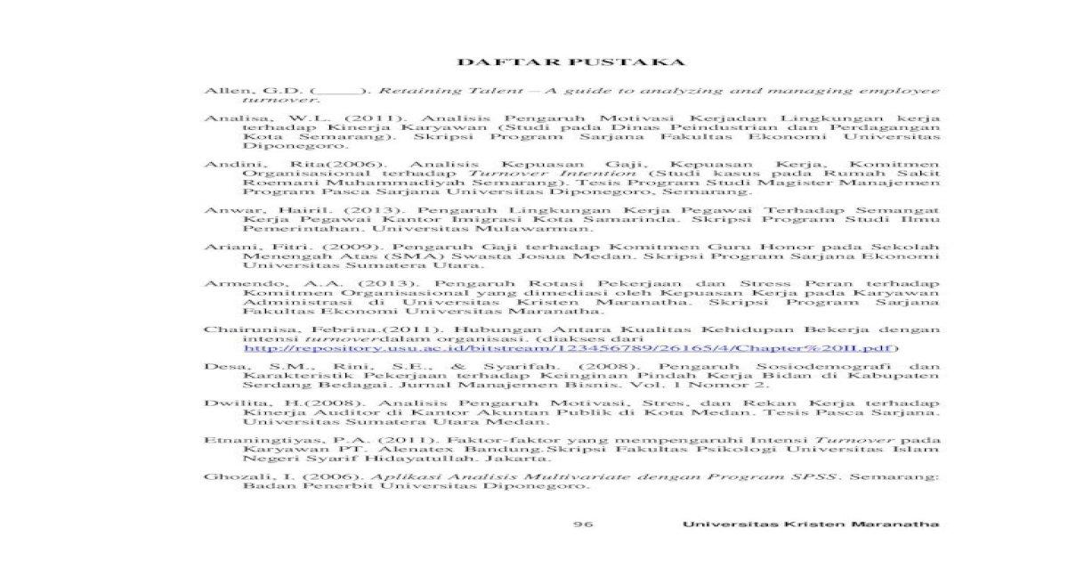 Daftar Pustaka Pekerjaan Terhadap Keinginan Pindah Kerja Bidan Di Kabupaten Serdang Bedagai Jurnal Pdf Document