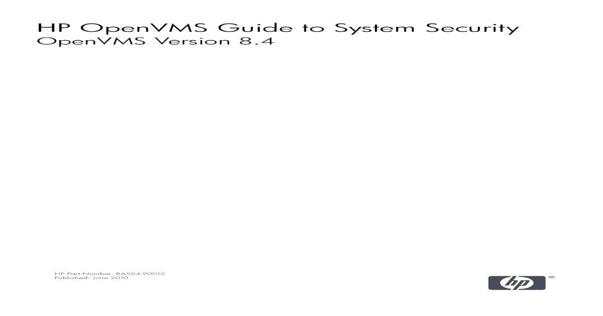 HP OpenVMS Guide to System Security - Apache Welcome