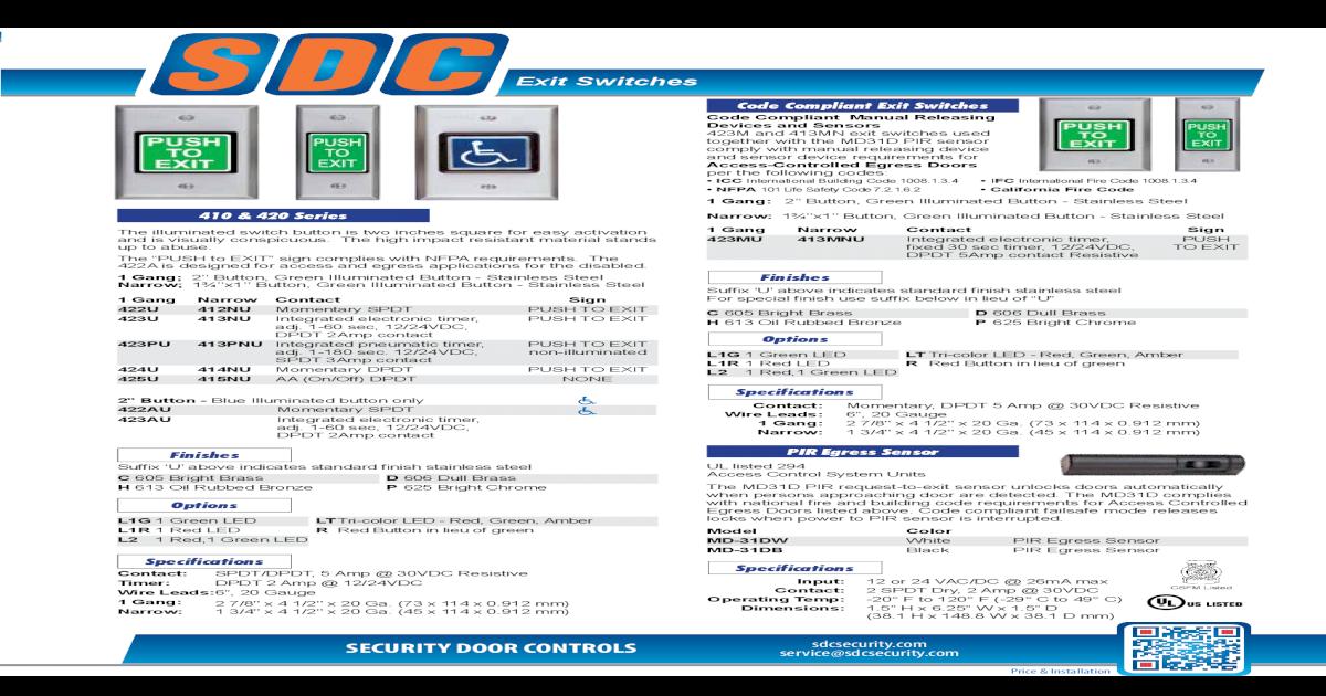 SDC SECURITY DOOR CONTROLS 423PU PNEUMATIC PUSH SW ASSEMBLY