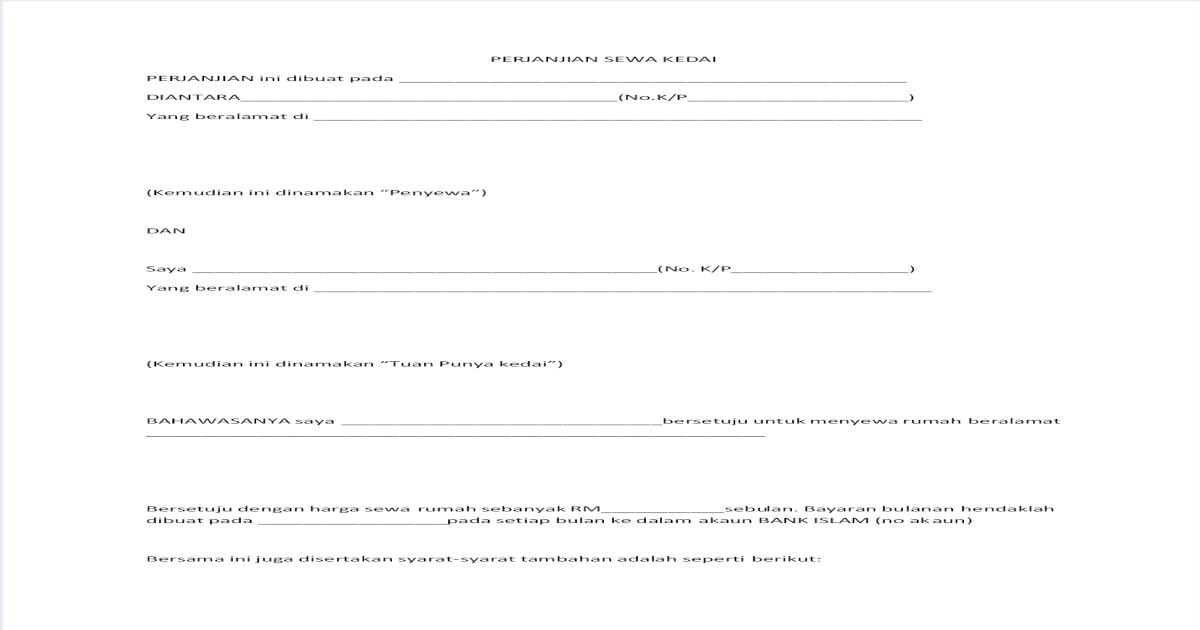 Perjanjian Sewa Kedai Pdf Document