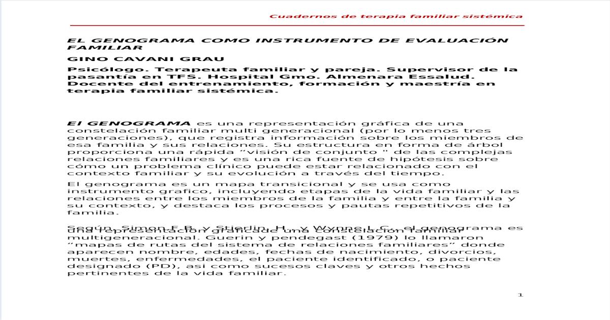 Gino Cavani Grau El Genograma Como Instrumento De