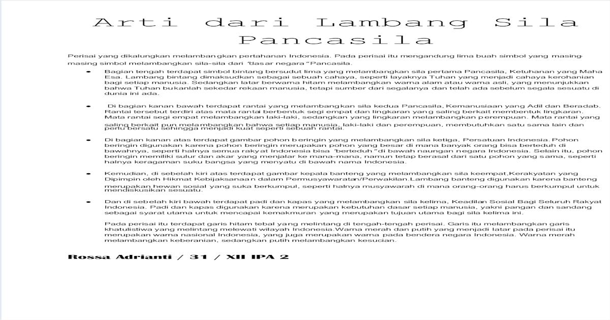 Arti Dari Lambang 5 Sila Dalam Pancasila Pdf Document