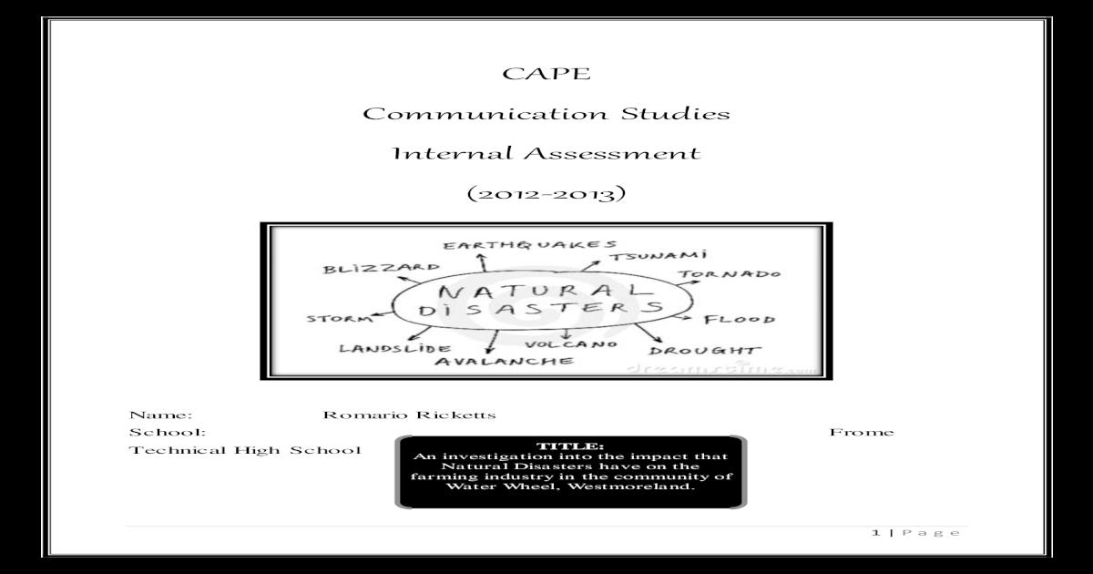CAPE Caribbean Studies Sample Internal Assessment (IA