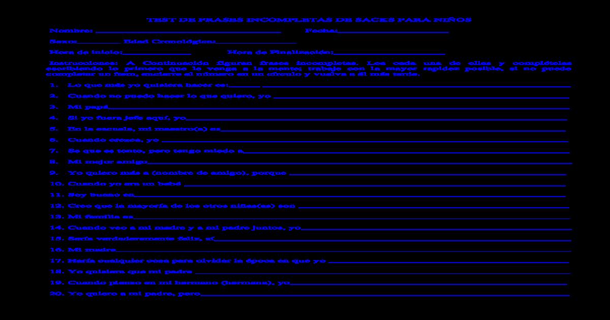 Test De Frases Incompletas De Sacks Para Nios Doc Document