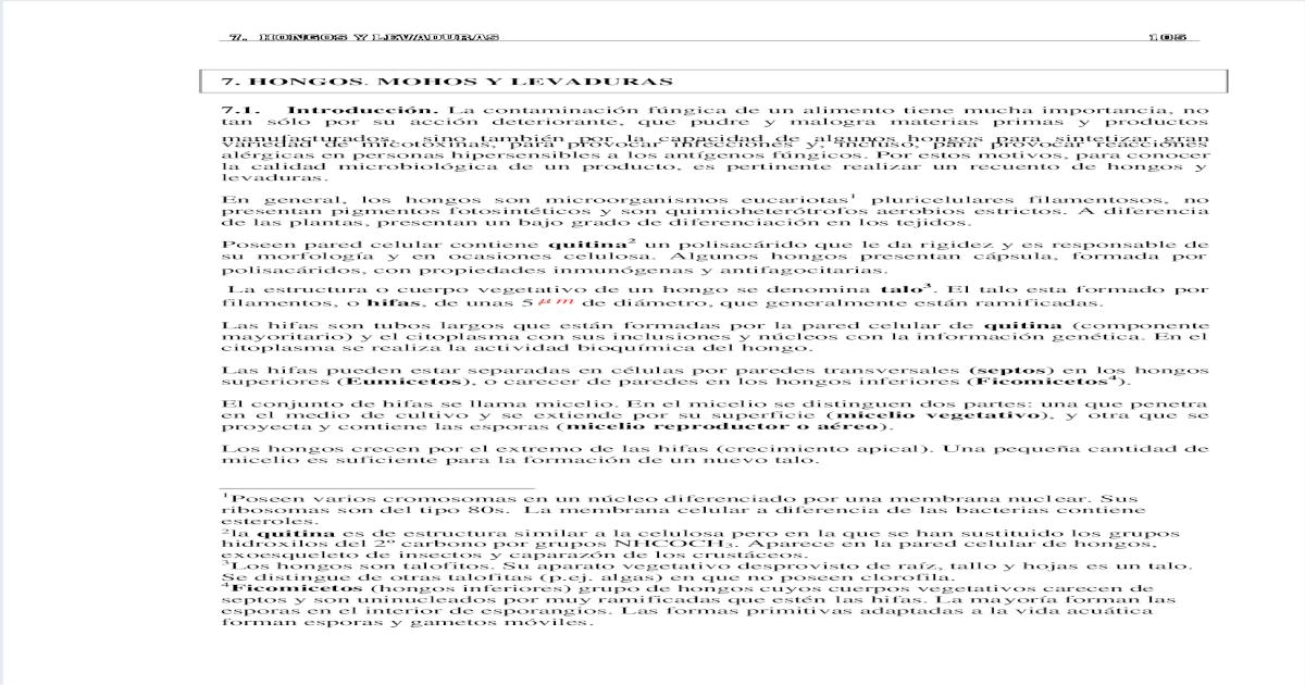 Hongos Mohos Y Levaduras Pdf Document