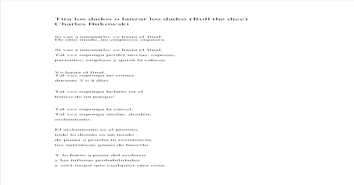 Lanzar Los Dados Charles Bukowski Pdf Document