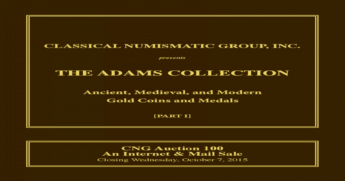 CNG 100 Adams Collection Virtual Catalog - [PDF Document]
