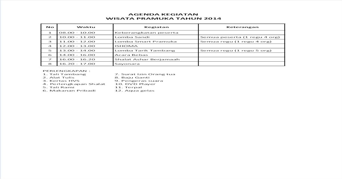 Agenda Kegiatan Wisata Pramuka Pdf Document