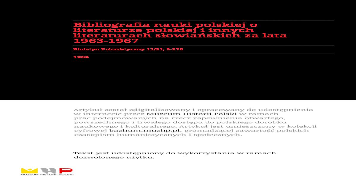 Bibliografia Nauki Polskiej O Literaturze Polskiej I Innych