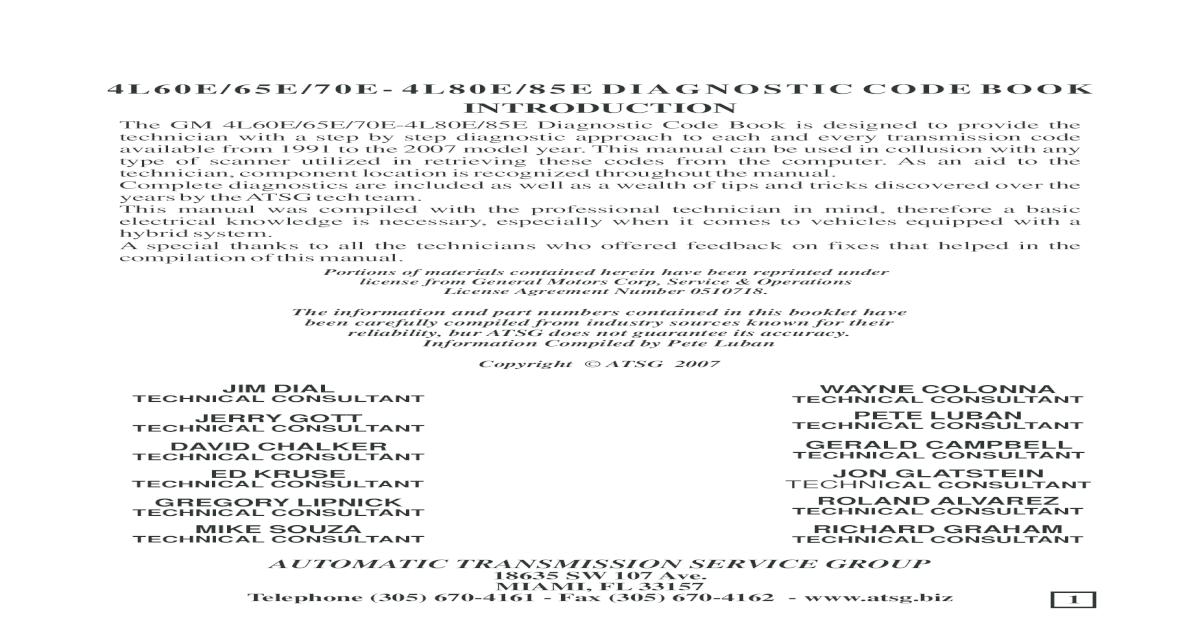 4l60e 80e Code Book - [PDF Document]