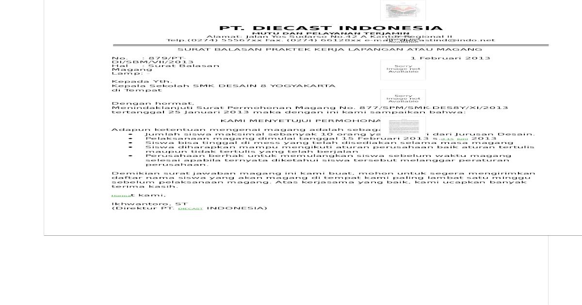 Contoh Surat Balasan Praktek Kerja Lapangan Atau Magangpdf