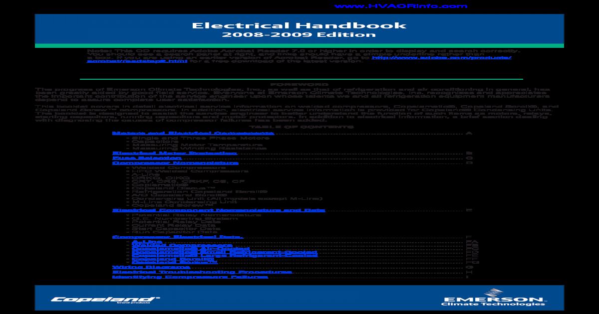 Copeland Electrical Handbook - [PDF Document] 220 volt air compressor wiring diagram vdocuments.mx