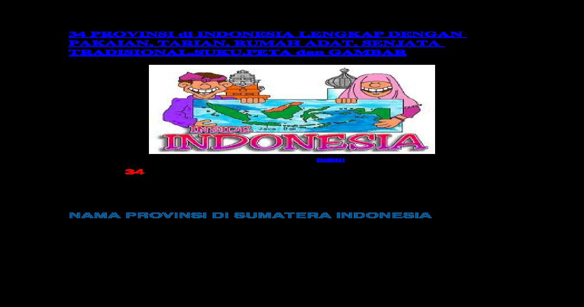 34 Provinsi Di Indonesia Lengkap Dengan Pakaian Docx Document