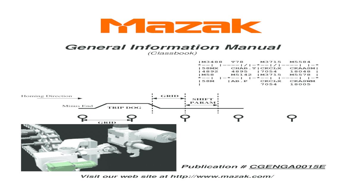 Mazak General Information Manual - CGENGA0015E pdf - [PDF Document]