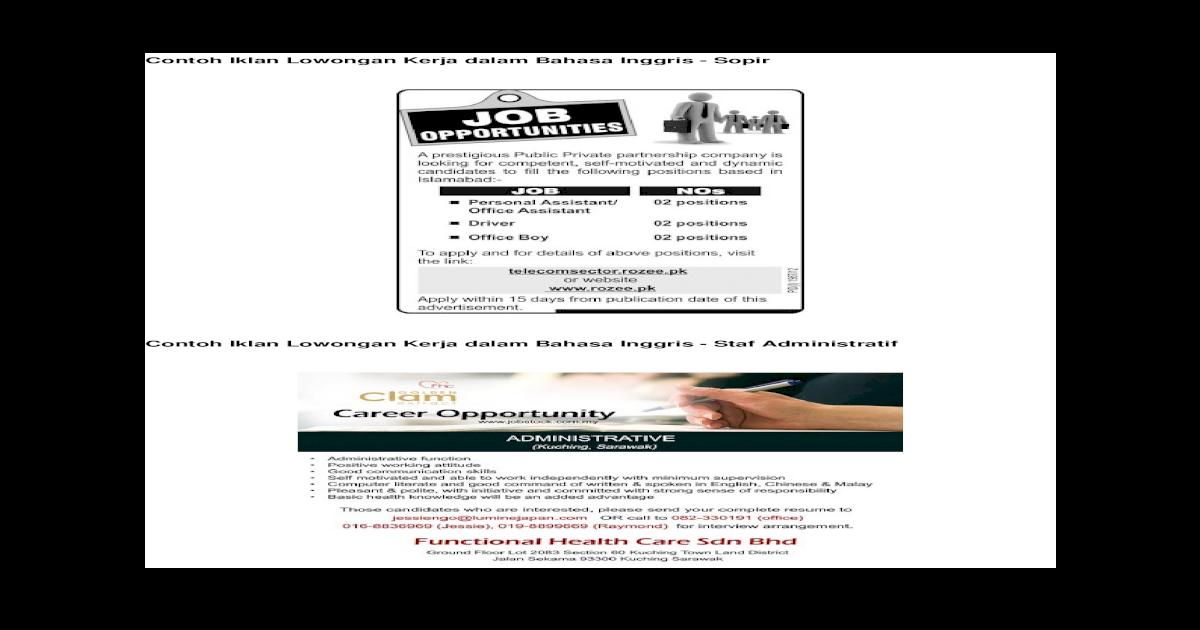 Contoh Iklan Lowongan Kerja Dalam Bahasa Inggris Doc Document