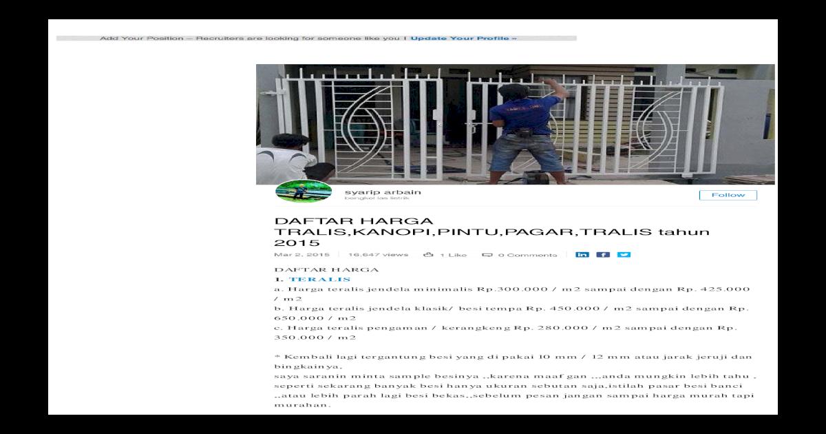 Daftar Harga Tralis Kanopi Pintu Pagar Tralis Tahun 2015 Syarip