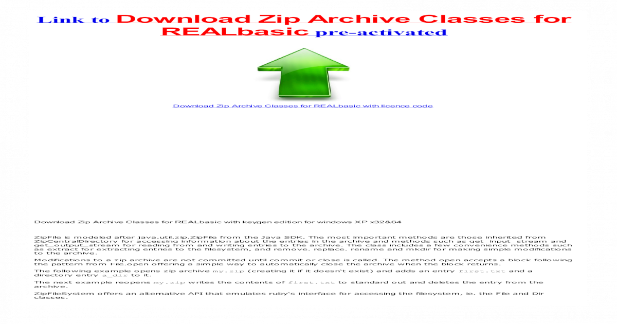 Zip Archive Classes for REALbasic with crack - [PDF Document]