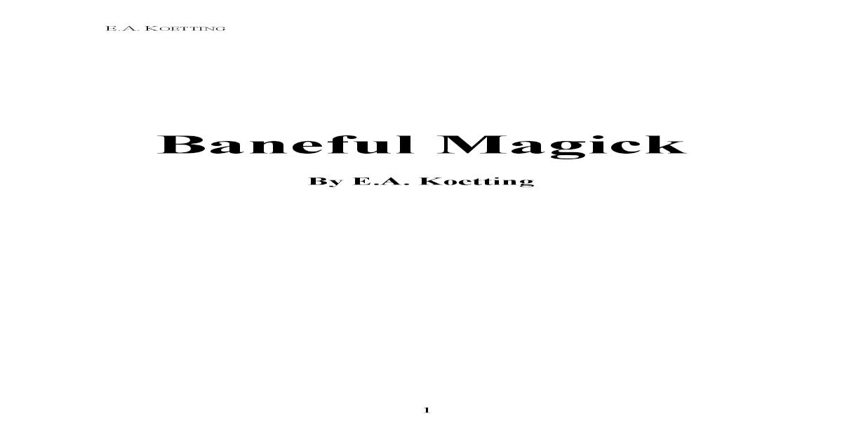 Baneful Magick EA Koetting - [PDF Document]