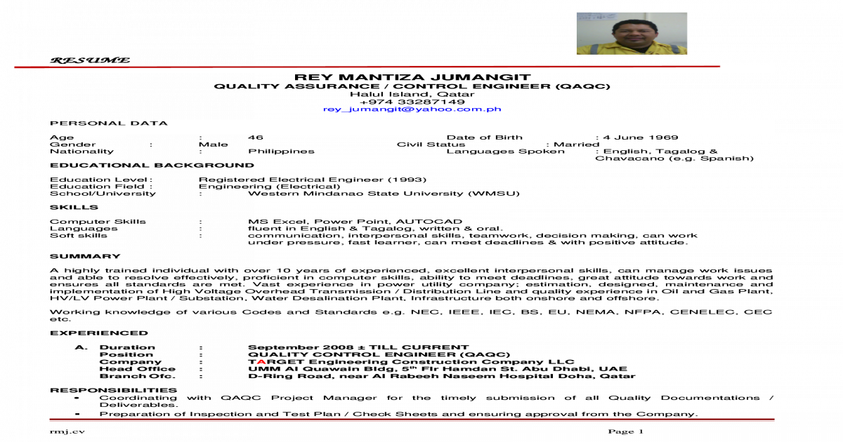 CV-Rey Jumangit - QAQC Engineer - [DOC Document]
