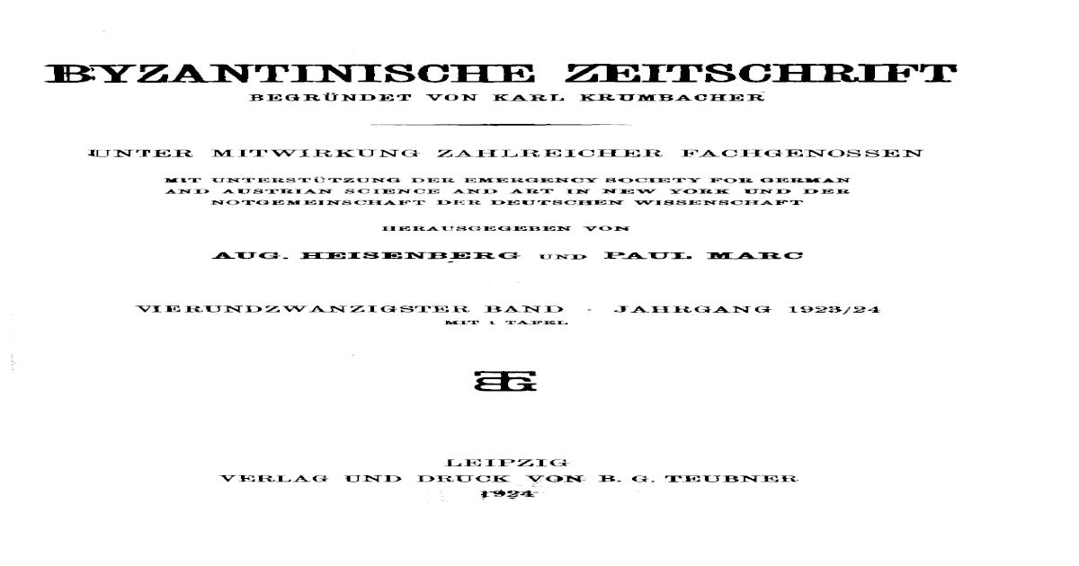 Byzantinische Zeitschrift Jahrgang 24 1924 Pdf Document