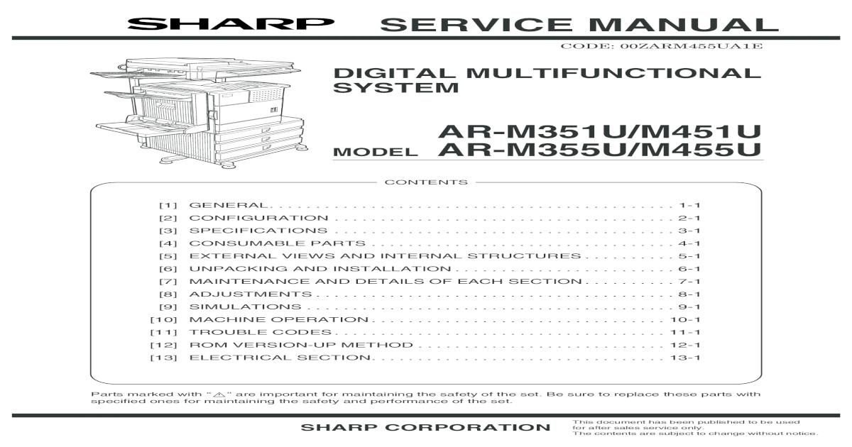 Sharp Digital Multifunction AR-M351U-M451U-M355U-M455U Parts ... on