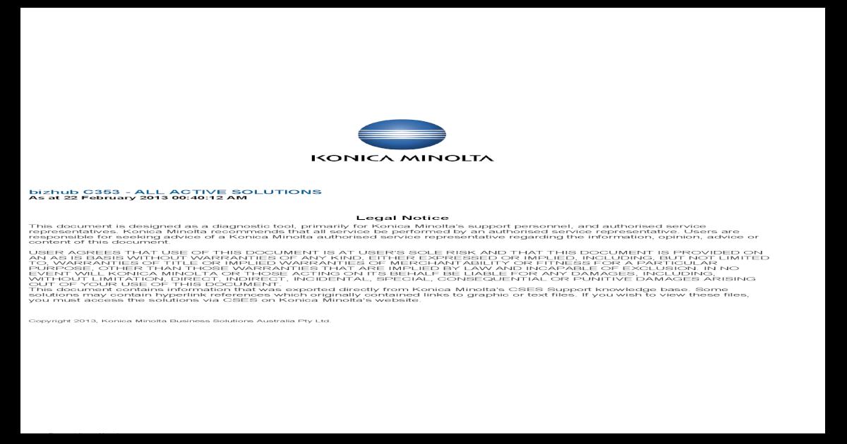 Bizhub C353 Solutions - [PDF Document]