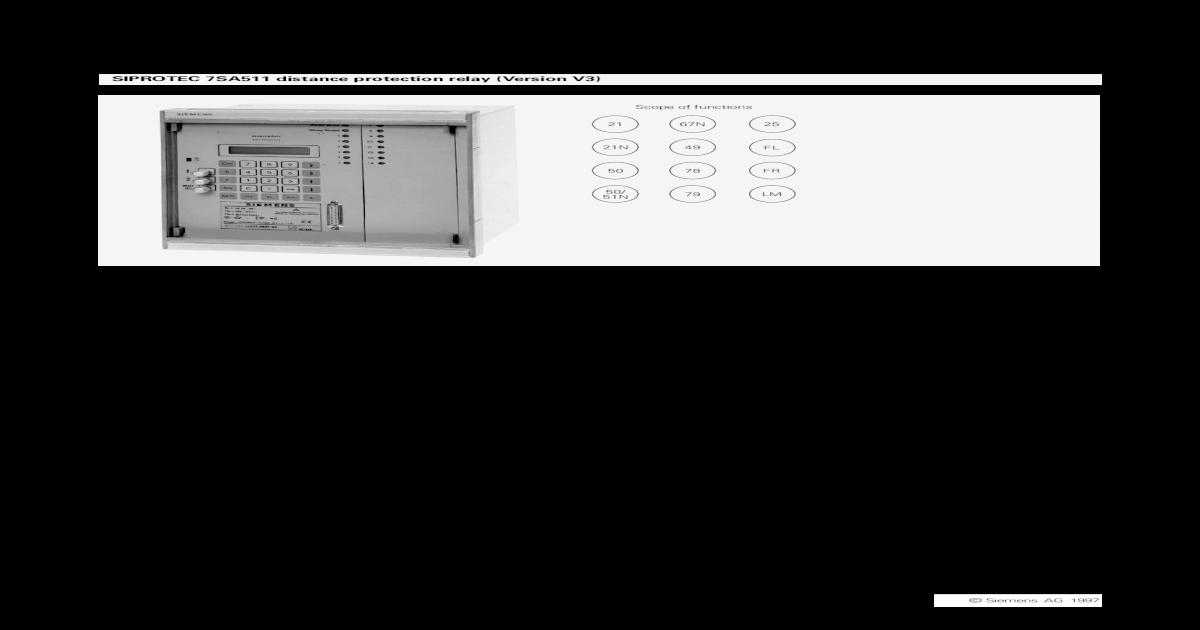 7SA5115 Distance Protection Relay V3 - [PDF Document]