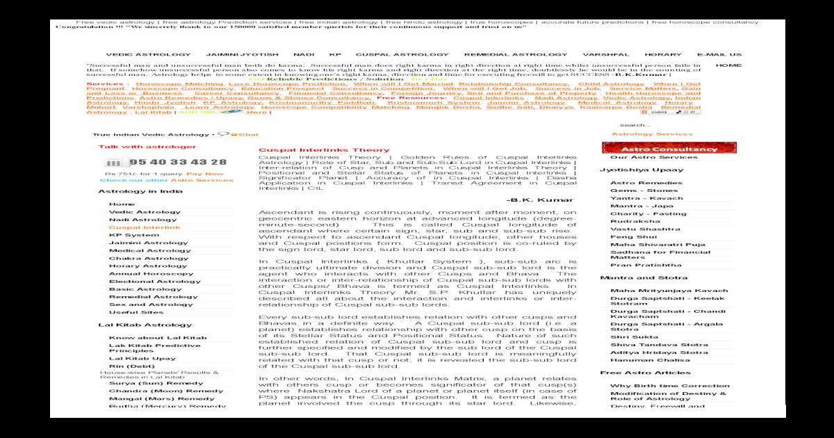 Cuspal Interlinks Theory - Micro Astrology - [PDF Document]