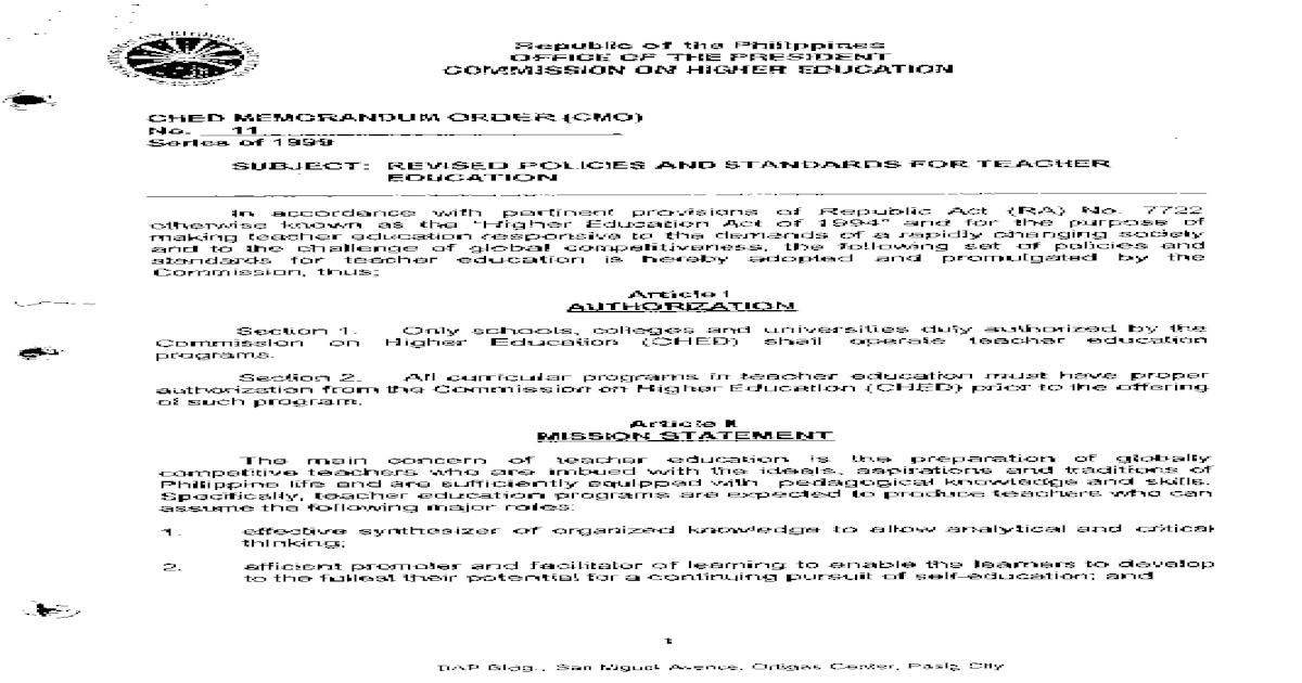 CMO 11 S 1999 Teacher Education - [PDF Document]