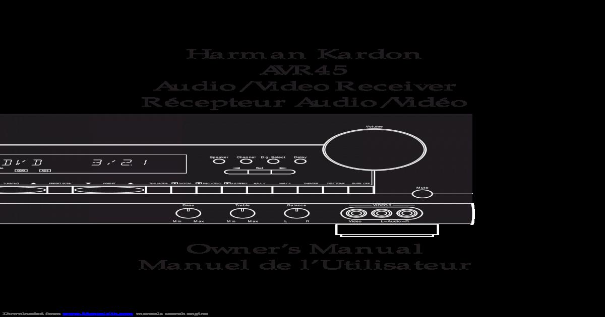 Manual Harman Kardon AVR 45 RDS - [PDF Document]