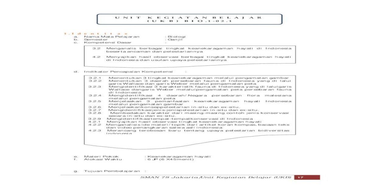 Unit Kegiatan Belajar Ukb Bio 1 02 Lms Sman78 Lms Sman78 Jkt Sch Id Cbt Admincbt Bahanajar Bhnajar Beserta Ancaman Dan Pelestariannya 4 2 Dan H Materi Pembelajaran Berikut Pdf Document
