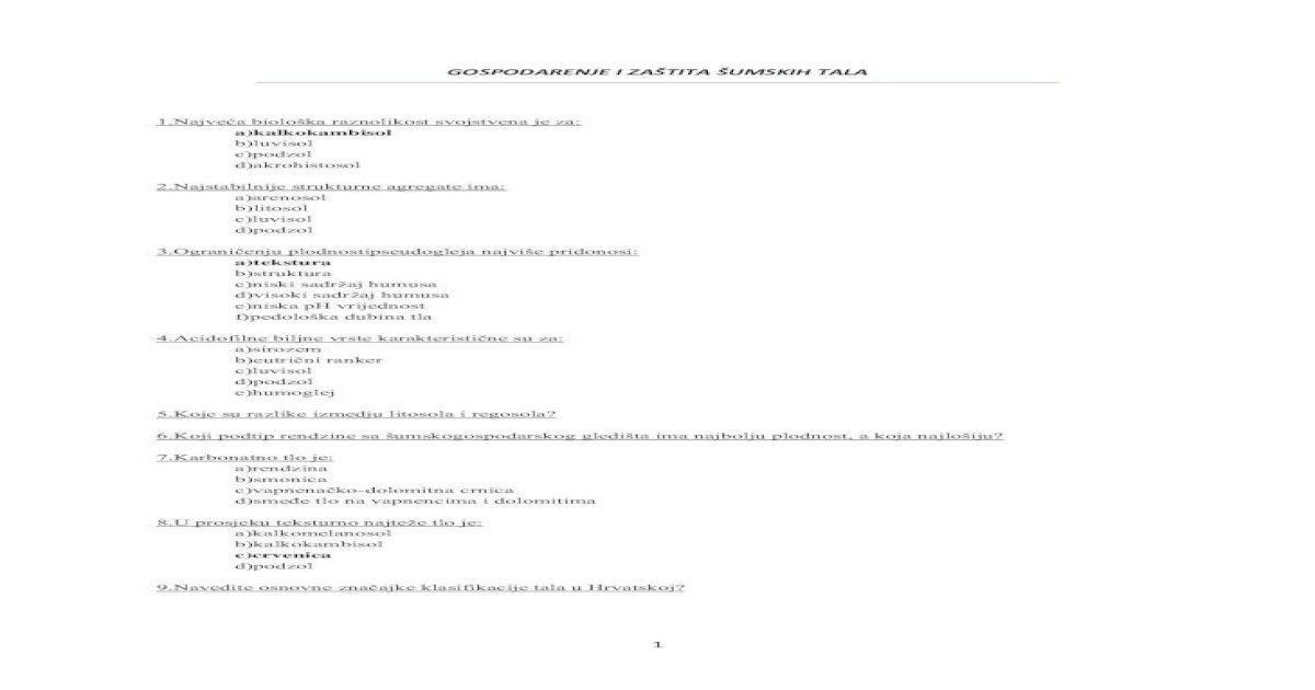 Pitanja Iz Gospodarenja Sumskim Tlima Pdf Document
