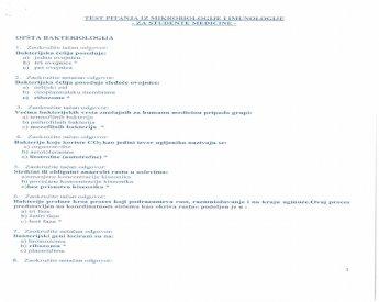 Test Pitanja Iz Mikrobiologije I Imunologije Za Studente Medicine Pdf Document